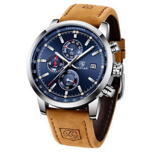 Men's Watches Leather Band Sport Military Watch Chronograph Quartz Wristwatches