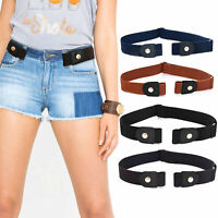 Women Alloy Waist Belt Adjustable Soft Buckle Free Faux Leather Stretch My
