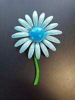 KJ JEWELRY VINTAGE ENAMEL BLUE DAISY FLOWER PIN BROOCH GREEN STEM 3 INCHES