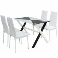 vidaXL Conjunto de Mesa y 4 Sillas de Comedor Cuero Sintetico Blanco y Negro
