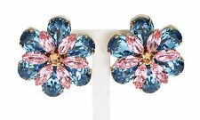 NEW $600 DOLCE & GABBANA Earring Gold Brass Blue Pink Crystal Floral Clip On