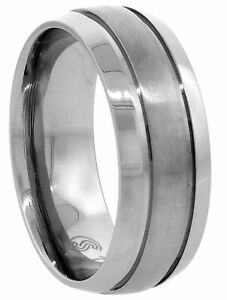 Titanium Ring Men Women Wedding Band Brushed Stripe Center Beveled Edge Dome 8mm