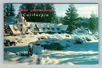 Lake Arrowhead Village Resort, Snow Covered Cars, Chrome California Postcard