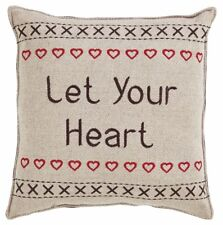 """Christmas Pillow Set of 2 Let Your Heart Be Light 12""""x12"""" each Tan & Red"""