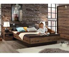 Bettanlage Doppelbett Bett inkl. Fussbank Schlammeiche Schwarz 180 x 200 cm