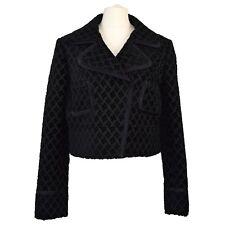 Chloé Black Cropped Jacket | Jacquard | Boxy | Silk | Floral | FR 44 Medium