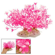 Hot Pink Aquatic Dwarf Plastic Flower Plant Ornament for Fish Tank New
