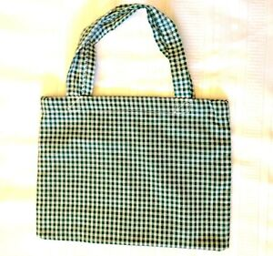 New Handmade Reusable Fabric Cloth SMALL TOTE BAG: Gift Book Lunch GREEN GINGHAM