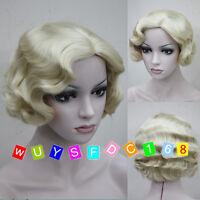 Vogue women's Curly Wavy-Style Light blonde lady's short full wigs / wig cap