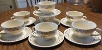VINTAGE 14 PC Golden Wheat 22kt GOLD Plates Saucers and Tea Cups