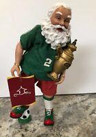 Holiday Time Fabric Mache Sports Santa Soccer Football Figurine Christmas Decor