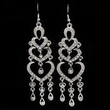 "Heart Love Dangle Long Earrings Pair Hook Crystal Clear 3"" Silver Tone Jewelry"
