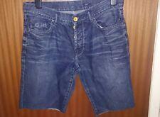 Men's Denim Jeans Blue Cuff Off Shorts Sz 34