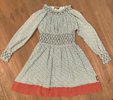 Matilda Jane You & And Me Bristol Dress Size 6 Blue Smocked Long Sleeved