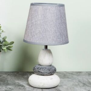 Hestia Pebble Table Lamp With Grey Shade