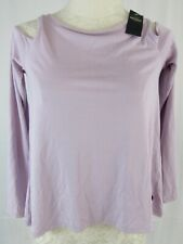 NWT Hollister A & F Purple Crisscross Back Long Sleeve Shoulder Peek a Boo Top S
