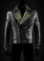 Men's Punk Golden Silver Studded Black Unique Cowhide Biker Leather Jacket