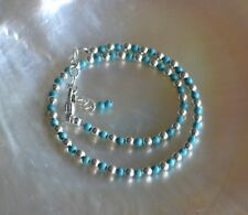 2mm Turquoise and 3mm Sterling Silver Bead Ankle Bracelet 9 to 11 Inches