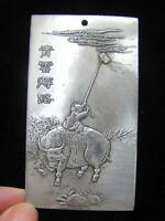 OLD CHINESE TIBET SILVER HANDWORK CARVED BOY AND OX PENDANT