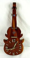 """Wooden Lacquered Wall Clock Violin Shape Vintage 15"""""""
