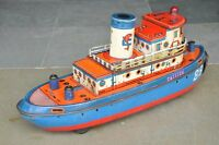 Vintage MT Trademark Catfish 88 Litho Battery Boat/Ship Tin Toy , Japan