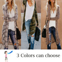 Womens Leopard Kimono Cardigan Open Front Boho Camo Long Sleeve Tops Maxi Coat/A