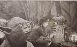 """Robert Bailey Star Wars - Original Zeichnung """"Camp Companion""""  74x56cm RARITÄT"""