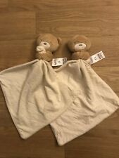 M&S Marks Spencer With Love Teddy Bear Baby Comforter With Spotty Blanket X 2
