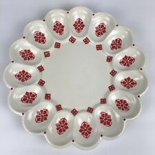 Vintage Christmas Deviled Egg Platter Dish White 1986 Southwestern
