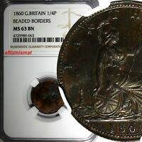 Great Britain Victoria 1860 Farthing BEADED BORDER NGC MS63 BN  KM# 747.2