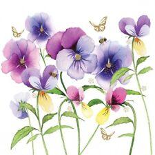 4 x Single Paper Table Napkin/Decoupage/Scrapbooking/Flowers/Violet Pansies