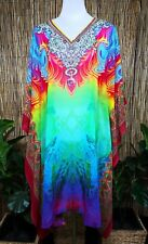 Plus Size Sheer Chiffon Embellished Kaftan Digital Printed Size 16-18-20-22-24