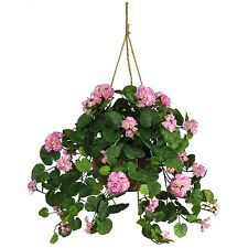 NEW GERANIUM SILK HANGING BASKET PINK FLOWERS ARTIFICIAL PLANT FAKE WICKER