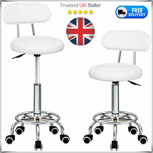 2× Bar Stools Leather Chairs Breakfast Chairs Swivel Gas Lift Kitchen Cushioned