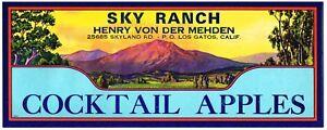 ORIGINAL LOS GATOS CALIFORNIA APPLE CRATE LABEL VINTAGE 1940S RARE SKY RANCH V4