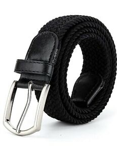 Braided Elastic Belt Stretch Woven Belt for Jeans Unisex Casual Fit Steel Buckle