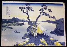 """Japanese Woodblock Print Reproduction """"Lake Suwa in Shinano"""" by Hokusai (Mod)"""