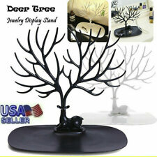 Necklace Ring Earring Deer Head Tree Stand Holder Show Rack Jewelry Display US