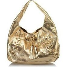 MICHAEL KORS Astor Grommet GOLD Python Leather Tassel Shoulder Bag Tote Hobo NEW