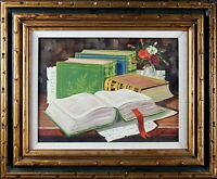 Framed Original Vintage Painting, Old Books on the Table, Elegant Oil on Canvas