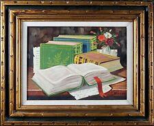 Framed Original Vintage Painting, Old Books on the Table, Elegant Oil on Canvas