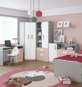 Youth Bedroom Bed Computer Table Dresser 6tlg. Set Design Kid's Room Set