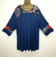 2W Paris Tunic Top Teal Blue Lagenlook Made in France Plus Size 18 20 22 24
