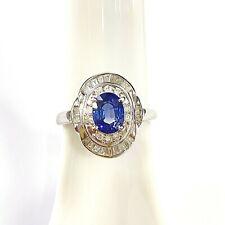 PT900 Blue Sapphire (Corundum) Diamond Ring [Cert] 5.37 Grams / HK Size 13