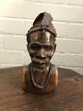 Vintage Carved Wooden African Head, bust of Tribal Elder With Headdress