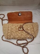 Ermanno Scervino Textured Woven Straw Outer/Natural Leather Inner Crossbody Bag