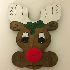 Wooden Rudolph Red Nose Reindeer Head Hanging Christmas Decoration Stag Vintage