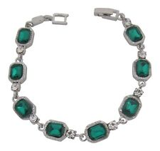 Silver Plated Ethnic Emerald Green Crystal Bracelet