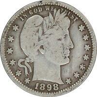 1898, 25c, Barber Silver Quarter, Liberty - Higher Grade - Collectors Coin