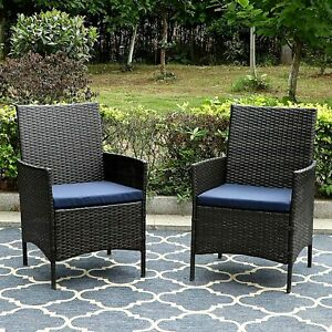 Set of 2 Patio Wicker Chair Rattan Chairs Armchairs W/ Cushion Outdoor Furniture